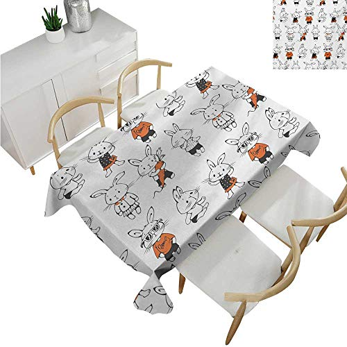 Funny,Rectangular Table Cover,Cute Retro Bunny Rabbits with Costumes Jack Hare Funky Bunnies Carrot Sketch Style,Tablecloth for Rectangle Table 52