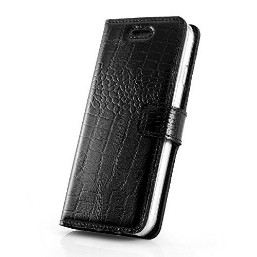 SURAZO Cayme - Leder Geschenkset Handy Schutzhülle, Card Holder, Schlüsselring - Farbe Schwarz Vintage Kollektion für Sony Xperia XZ Premium (5,50 Zoll)