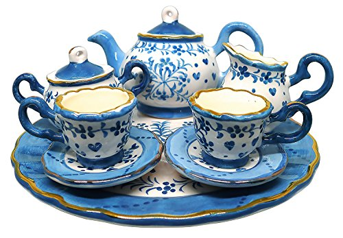 BDJ Hand Painted Ceramic Miniature Tea Party Set for Two - 10 Pieces (Size M) (Style G) -