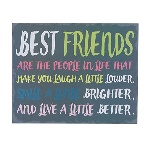 Best Friends are the People in Life that Make You Laugh Box Wall Art Sign, Primitive Country Farmhouse Home Decor Sign With Sayings 10