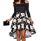 RUEWEY Women's Off Shoulder Short Sleeve High Low Cocktail Skater Dress Swing Dress (L, Black&White)