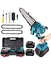 6 Inch Mini Chainsaw,Portable Electric Chainsaw with Brushless Motor and 15000mAh Battery.Cordless Chainsaw Auto Add Oil & Safety Lock for Tree Pruning Branch Wood Cutting(2Pcs Batteries&2Pcs Chain)