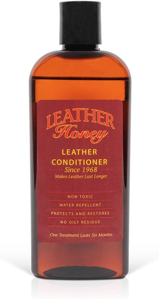 Leather Honey - Acondicionador para cuero, el mejor acondicionador de cuero desde 1968, botella de 0,24 litros. Para uso en ropa de cuero, muebles, interiores de automóviles, zapatos, bolsos y accesor