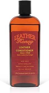 Leather Honey - Acondicionador para cuero, el mejor acondicionador de cuero desde 1968, botella de 0,24 litros. Para uso en ropa de cuero, muebles, interiores de automóviles, zapatos, bolsos y accesorios. Fabricado en los Estados Unidos