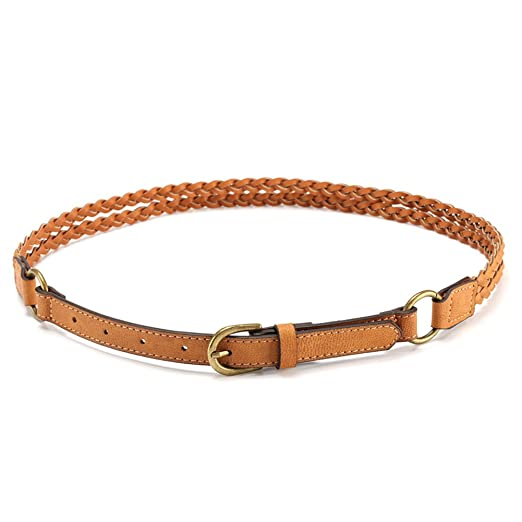 0ead5999c MoYoTo Women's Adjustable Stylish Brown Thin Braided Leather Belt For Jeans  (Brown) at Amazon Women's Clothing store: