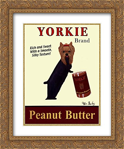 Yorkie Peanut Butter 2X Matted 16x19 Gold Ornate Framed Art Print by Ken Bailey