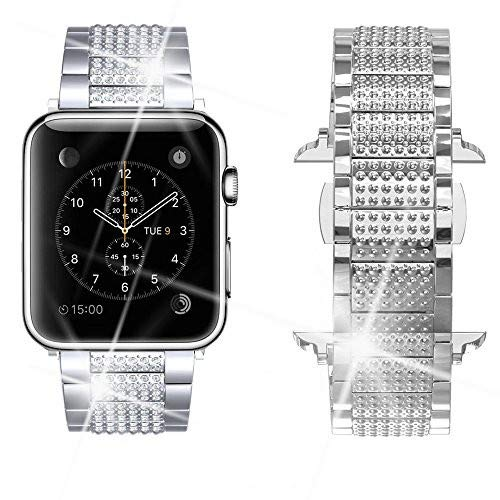 Dassions Band for Apple Watch Diamond Band, Rhinestone Luxury Diamond Stainless Steel Replacement Bands for Apple Watch 42mm 44mm Nike+ Series 4 Series 3 Series 2 Series 1 Edition (Silver, 42/44mm)