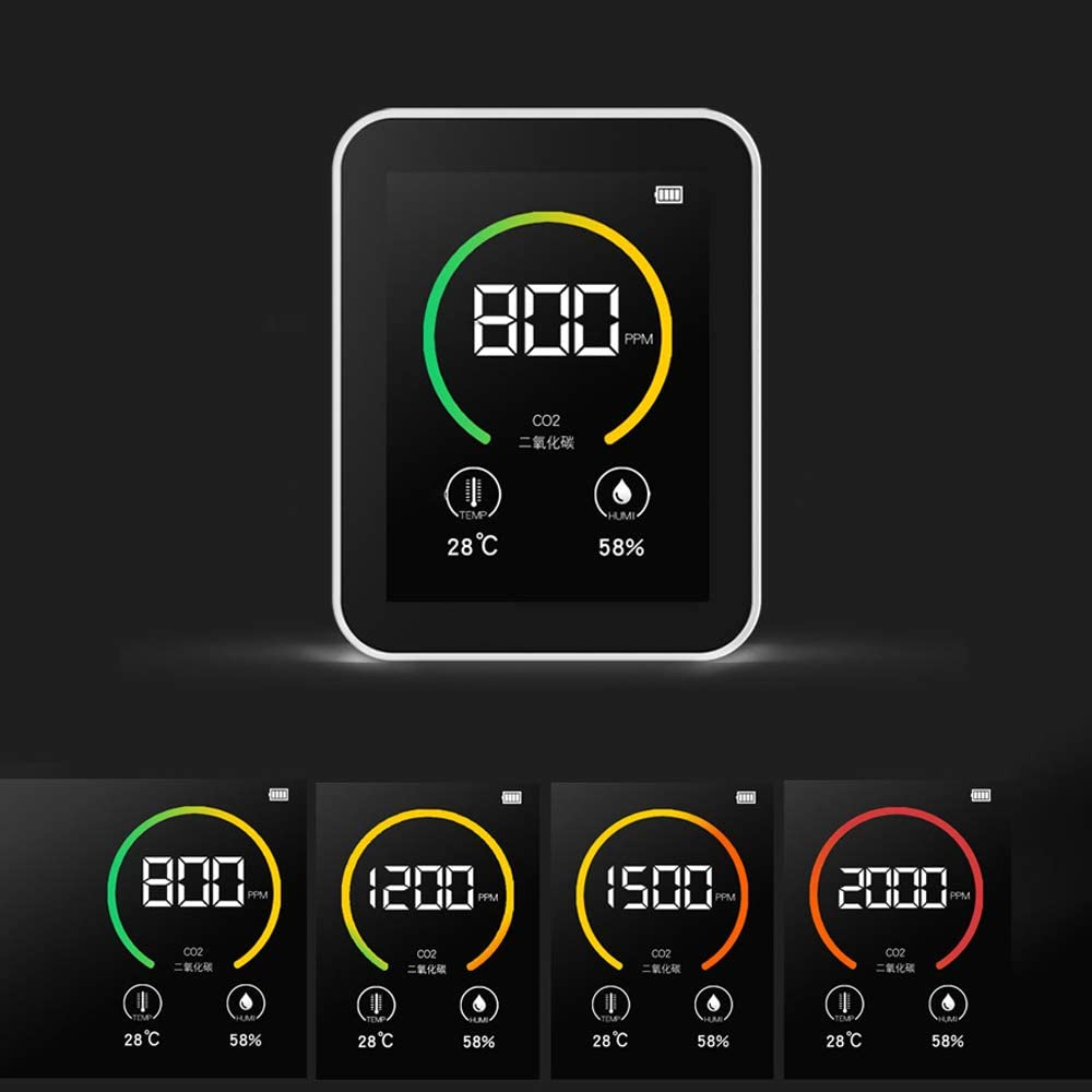 CO2 Meter KKmoon CO2 Detector Gas Concentration Content Color Screen TFT Intelligent Air Quality Analyzer with Temperature Humidity Display and Intelligent Alarm System