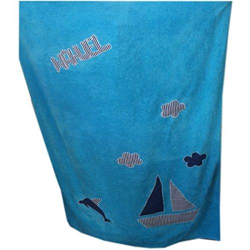 toalla playa 100x150 turquesa con barco personalizada