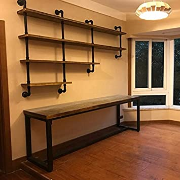 Mbqq 4 Tiers 63inch Industrial Pipe Shelving Rustic Wooden Metal Floating Shelves Home Decor Shelves Wall Mount With Wine Rack Decorative Accent Wall Book Shelf For Kitchen Or Office Organizer Black Furniture Decor