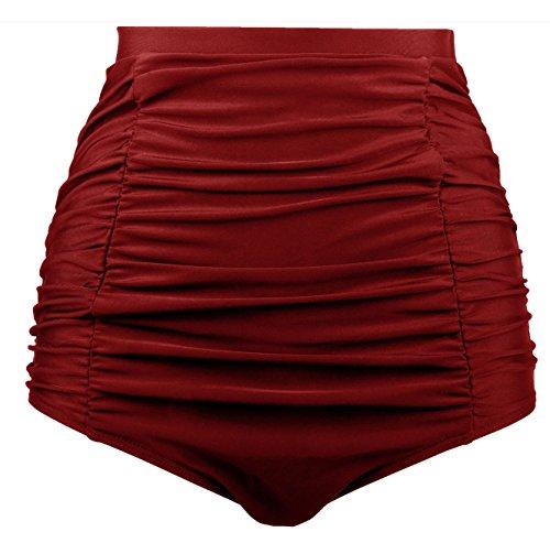 Angerella Mujeres Retro Alta Cintura Bikini Bottom Ruched Swim Short Tankinis Vino rojo