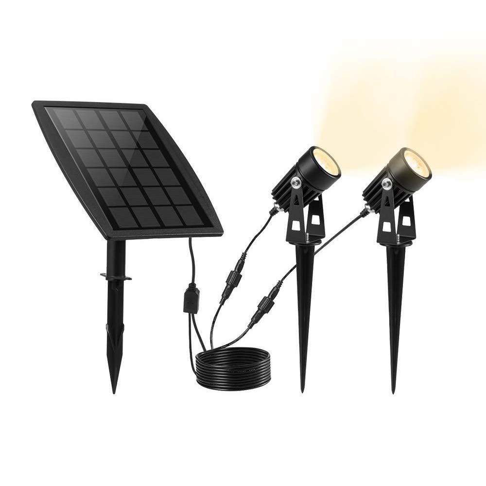 KEYNICE Solar Spotlights Waterproof IP65 Solar Powered Spotlight for Outdoor/Garden/Courtyard/Lawn(Warm White)