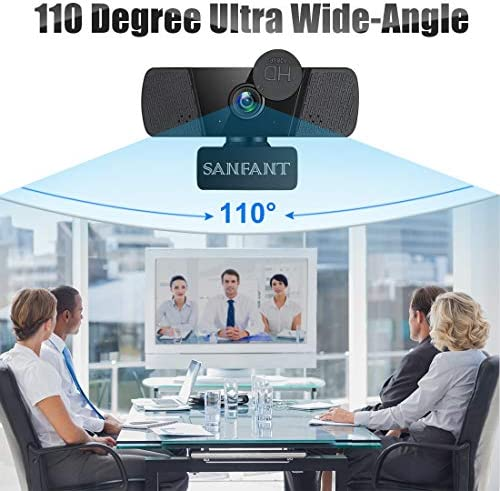 Webcam 1080P HD Streaming Web Camera with Dual Microphone & Privacy Cover, 110-Degree Wide Angle, USB Plug and Play, for Computer/PC/Mac Laptop/Desktop, Zoom Skype FaceTime Teams