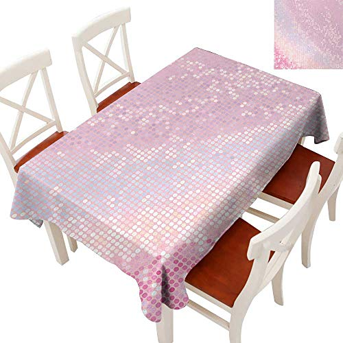 Elegant Waterproof Spillproof Polyester Fabric Table Cover Tablecloths for Rectangle/Oblong/Oval Tables Abstract Pattern in Pastel Pink Tones Disco Ball Style Party Theme Artwork Light Pink Baby Pink