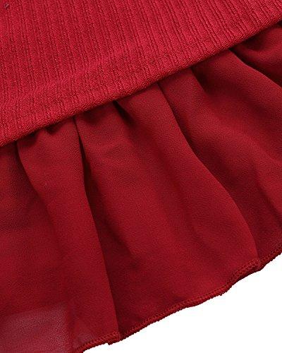 d'hiver Pull Zanzea et dentelle tricot en courte robe 4wPPq561