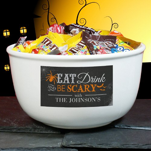 GiftsForYouNow Eat, Drink & Be Scary Personalized Halloween Candy Bowl ()