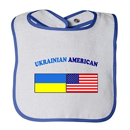 (Cute Rascals Ukrainian American Tot Contrast Trim Terry Bib White/Royal Blue)