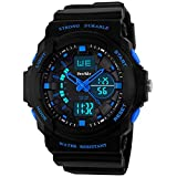 BesWLZ Kids Sports Watches Multi Function Waterproof Quartz Watch Wrist Dress Watch With LED Digital Alarm Stopwatch for Boy – Blue