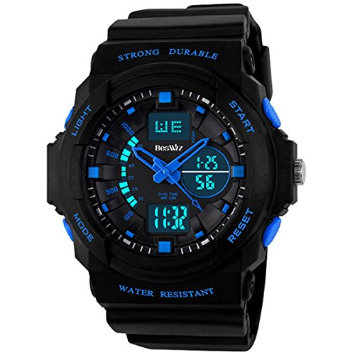 BesWLZ Kids Sports Watches Multi Function Waterproof Quartz Watch Wrist Dress Watch with LED Digital Alarm Stopwatch for Boy –...