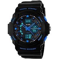 BesWLZ Reloj de cuarzo digital LED deportivo, multifunción, resistente al agua, para niños y niñas, color azul