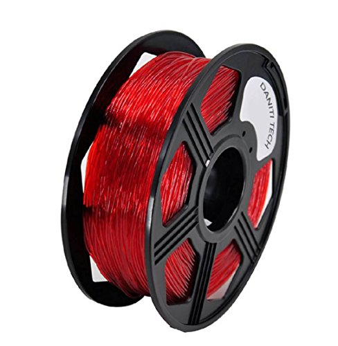 DANTI TECH 3D Printer PETG Filament,1.75mm Dimensional Accuracy +/- 0.05 mm, 1kg / 2.2lbs Spool for 3D Printers-- (transparent red)