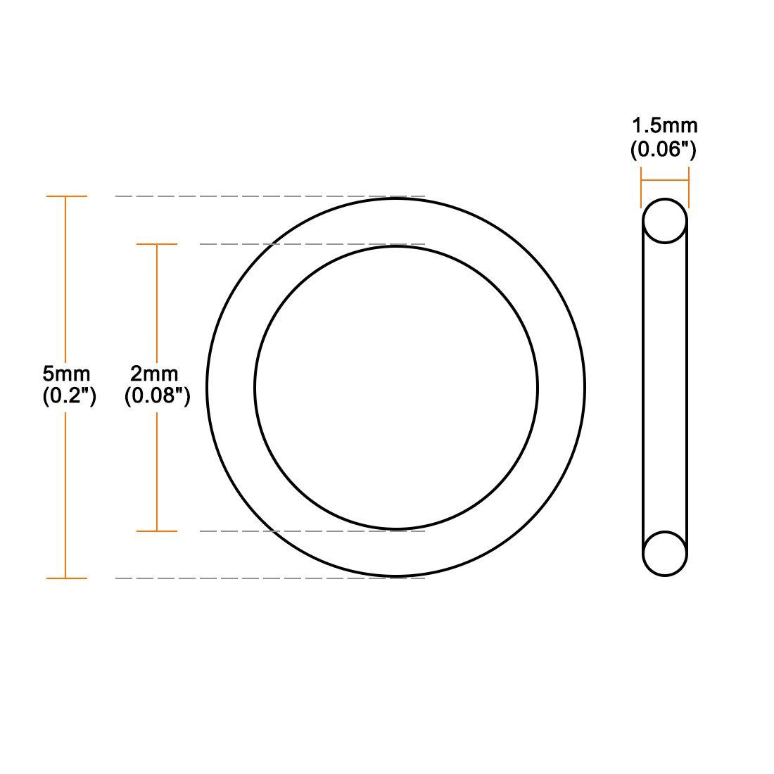 sourcing map Joint torique en caoutchouc nitrile Joint d/étanch/éit/é 50pcs 2mm x 5mm x 1.5mm