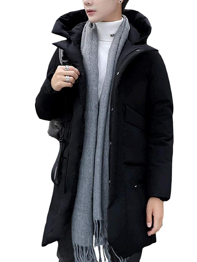 Highisa Mens Fashion Quilted Outwear Coat Hooded Padded Puffer Down Jacket