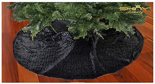 Black Tree Skirt-Sequin Tree Skirt,48