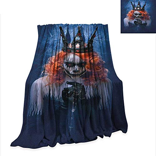 Anyangeight Queen Warm Microfiber All Season Blanket Queen of Death Scary Body Art Halloween Evil Face Bizarre Make Up Zombie 80