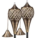 H Potter Diamond Patio Deck Torches with Pole Set of Two