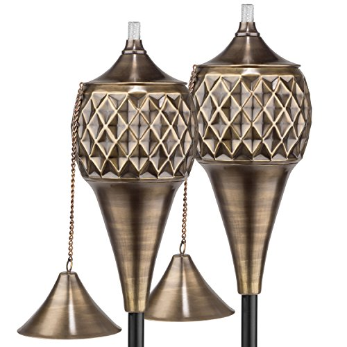 H Potter Diamond Patio Deck Torches with Pole Set of Two by H Potter