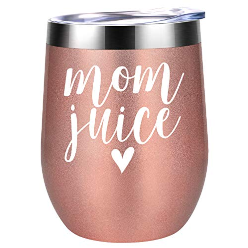 Mom Juice - Funny Mom Gifts for Mother's Day from Daughters, Sons or Husband - Best Mom Presents for Mom Birthday, Wife, Women, Her - Coolife 12 oz Stainless Steel Stemless Insulated Wine Tumbler Cup