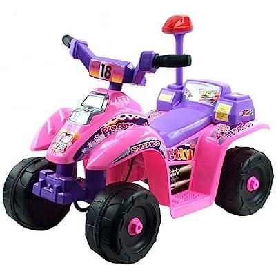 TMG Lil' Rider 4 Wheel Battery Operated Pink Princess Mini ATV - Includes 6 Bonus Sport Cones!: Toys & Games