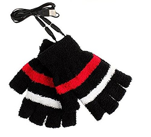 1Pair Winter Warmer USB Powered Heating Half Finger Fingerless Hand Gloves Mittens For Girls Women Students