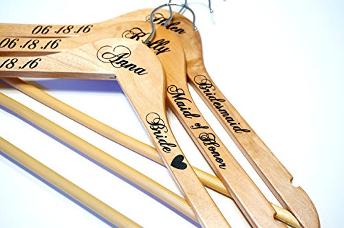 Custom Personalized Wedding Name Hangers, Calligraphy Wedding Dress Bride Hanger Gifts, Wedding Party Bridesmaids, Maid of Honor Photo Prop