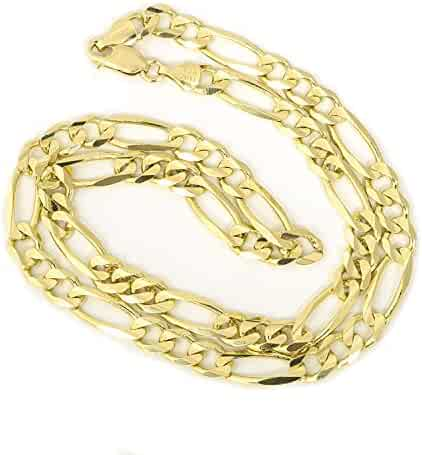Unisex 10k Solid Yellow Gold Figaro Chain Necklace
