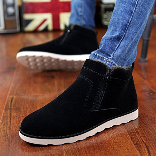 Fur Toe Women Chelsea Winter Boots Short Shoes Warm Lined Flat Slip Round Mens Women's Shoes High Ankle Casual Ankle Boot Boots Snow Zipper Cotton Suede gracosy for on Black Side Shoes Men and Outdoor XAqwxF6n