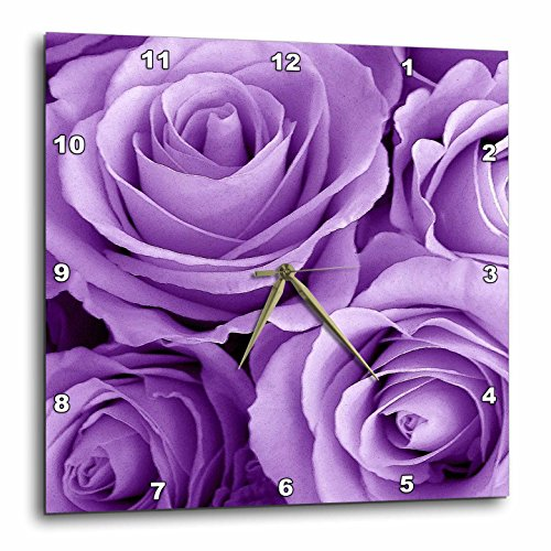 3dRose dpp_27564_2 Soft Lilac Purple Poses Bouquet-Wall Clock, 13 by - Wall Clock Bouquet