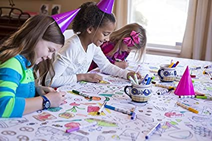 Amazon.com: The Coloring Table Colorable Food Fun Tablecloth ...
