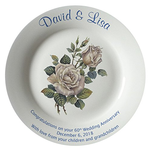 Heritage Pottery Personalized Bone China Commemorative Plate for A 60th Wedding Anniversary - White Rose Design with A Plain Rim