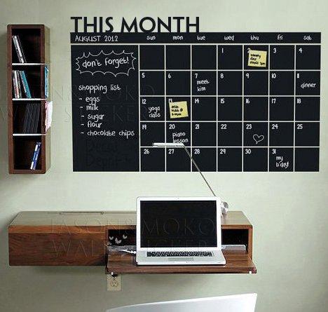DIY Vinyl Write-on Wipe-off Calendar Chalkboard Monthly Planner Organizer Wall - Board Cork Vinyl