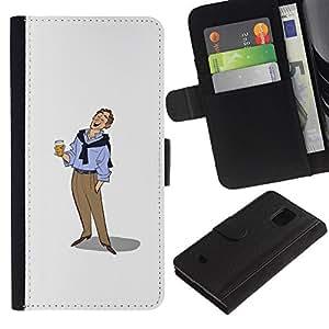 JackGot ( Hombre de la cerveza Arte Dibujo vacaciones relajadas ) Samsung Galaxy S5 Mini (Not S5), SM-G800 la tarjeta de Crédito Slots PU Funda de cuero Monedero caso cubierta de piel