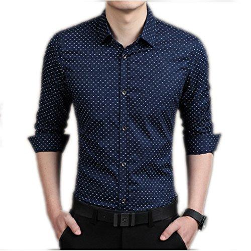 Honghu Business Ocio Slim Fit Stretch Clásico Cuello Camisa de Manga Larga Para Hombre Azul