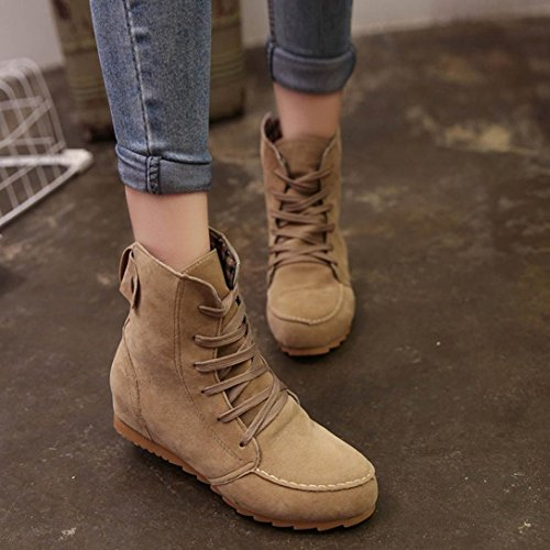 Women Tan HCFKJ Winter Female Girls Fashion Up Motorcycle Ladies Boots Boot Ankle Lace for Flat Leather Short Suede Snow Rubber Kahki rxIUrq