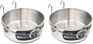 MLCINI Hanging Pet Bowl, Dog Crate Bowl Dog Kennel Bowl 2 Pack Non Spill Stainless Steel Food Water Bowls Bunny Feeder with Hook for Dogs Cats in Crate Cage Kennel (M/30 Ounce)