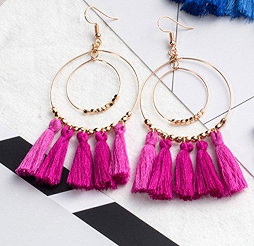 Bohemia Ethnic Long Tassels Dangle Earrings Women Girls Double Circle Thread Handmade Carmine
