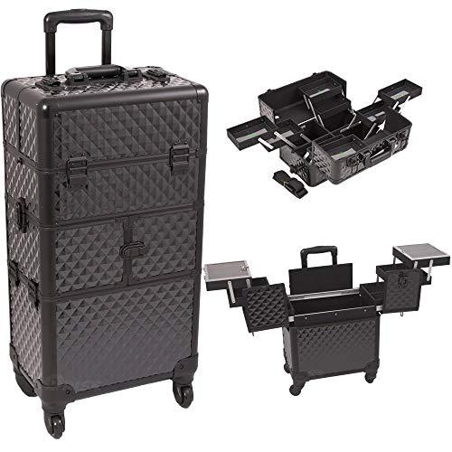 SunRise i3664dmab Black Diamond bandejas 3Niveles de acordeón 4Ruedas Profesional de Aluminio Rolling cosméticos...