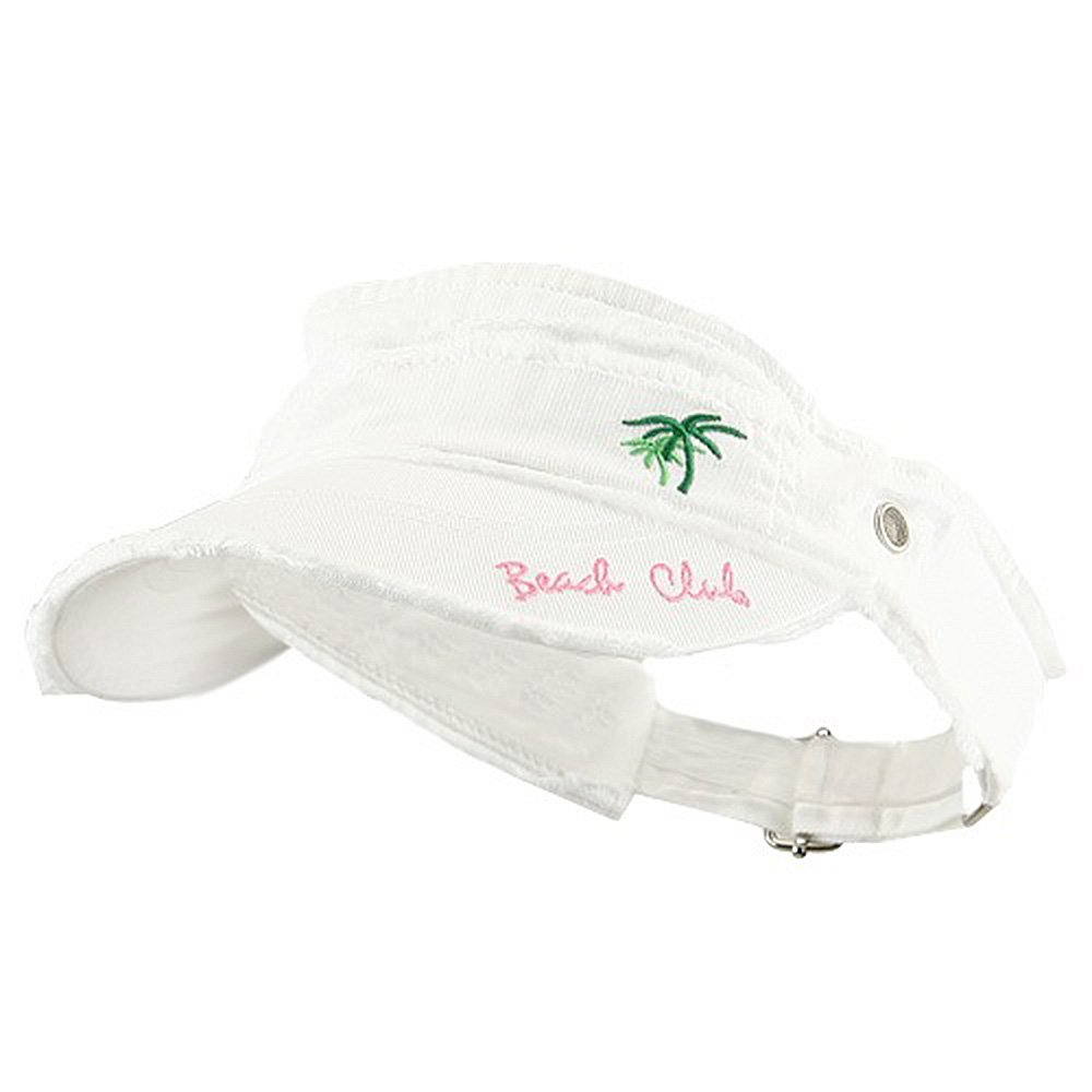 Beach Club Frayed Visor - White e4Hats.com