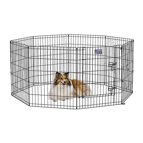 MidWest Foldable Metal Exercise Pen / Pet Playpen. Black w/ door, 24″W x 30″H