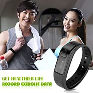 Lincass I5 Smart Band Wireless Bluetooth Fitness Activity Tracker Sleep Wristband Pedometer Exercise Walking Tracking Walk Sports Smart Bracelet for iphone All Android Smart Phones 6, 6 Plus, 5S, 5C, 5, 4S, 4, iPad Air, Ipod Touch, 5, 4, 3, 2, Retina Mini 2, Samsung Galaxy S5, S4, S3, Note 2, 3, Tab 3 and more Smartphones and Tablets (Black)